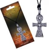 Colier negru din șnur, pandantiv cruce Spirit Sacru, noduri celtice