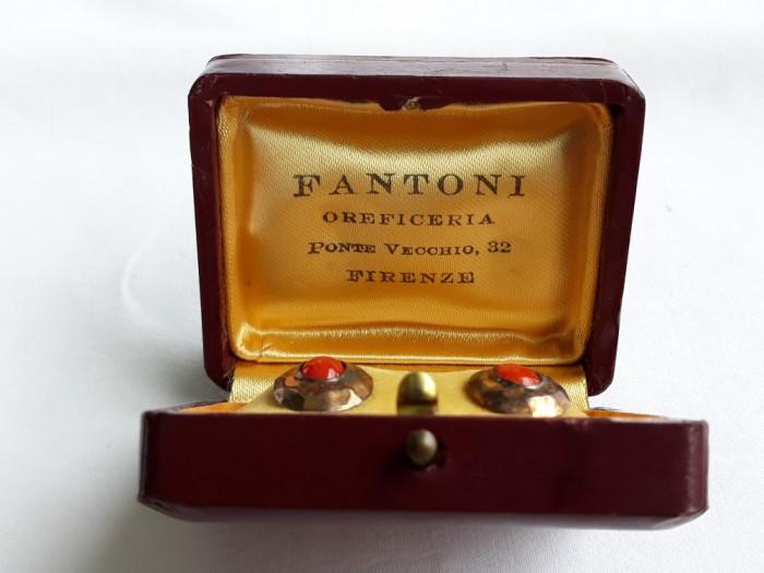 CERCEI argint auriti cu CARNEOL vechi FANTONI FIRENZE in cutie ORIGINALA unicat