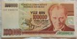 Bancnota 100000 LIRE - TURCIA, anul 1970 *cod 891 A = A.UNC