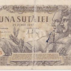 ROMANIA 100 LEI 25 IUNIE 1947 UZATA VARIANTA DE CULOARE PE SPATE