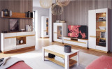 Set de mobila living din MDF si pal, 7 piese Visio II White / Oak