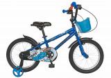 Bicicleta copii 16 FIVE Robin cadru otel culoare albastru negru roti ajutatoare varsta 4 6 ani