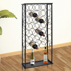 vidaXL Suport sticle de vin pentru 28 de sticle, metal