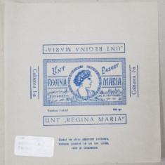 ' UNT REGINA MARIA ' , 100 GR. , HARTIE DE AMBALAJ , IMPRIMATA CU DESEN DE CULOARE ALBASTRA PE HARTIE CERATA , PERIOADA INTERBELICA