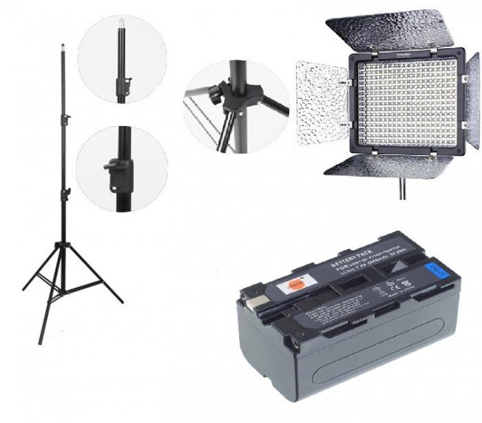 Kit lumina continua Lampa Yongnuo YN300 III+ Acumulator NP F+ incarcator+ stativ