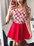 Rochie de ocazie scurta rosie cu corset brodat cu flori