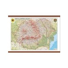 Romania si Republica Moldova. Harta fizica, administrativa si a substantelor minerale utile 1600x1200 mm (GHRF160)