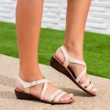 Sandale dama cu talpa ortopedica bej Holistia