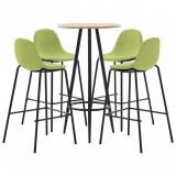 Set de mobilier de bar, 5 piese, verde, material textil, vidaXL