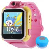 Ceas GPS Copii, iUni Kid730, 3G, DIGI Mobil, Touchscreen, GPS, LBS, Wi-Fi, Camera, buton SOS, Roz + Boxa Cadou