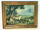 Tablou-litografie ,veche franceza,pe panza,Carl Vernet
