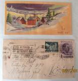 Felicitare si plic postal timbrat Carol al II-lea, 30.12.1933 Bistrita-Nasaud.