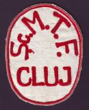 Anii '50 - Emblema vintage brodata Scoala Medie Tehnica pentru Fete S.M.T.F Cluj
