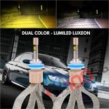 Instalatie LED COMBO FOG LumiLed (Alb + Galben) H4 cu faza dubla, 80W, 5500 Lumeni 9-32V