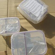 Set 3 caserole sticla inchidere etans