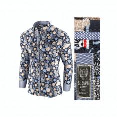 Camasa pentru barbati, bleumarin, model floral, flex fit, casual, premium - Babilon, L, M, XL, XXL, Maneca lunga