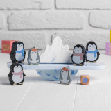Joc echilibru balanta din lemn cu pinguini