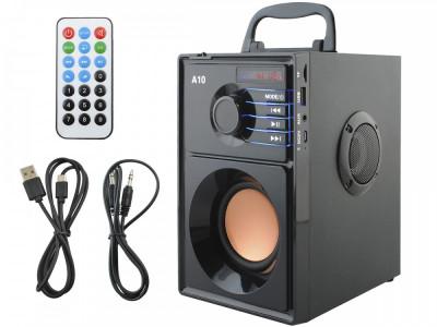 Sistem Audio Portabil Bluetooth cu Subwoofer Incorporat si Radio FM MP3 Player cu Telecomanda foto