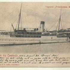 Cp Constanta : Vaporul Principessa Maria - circulata, timbru, 1904, Fotografie