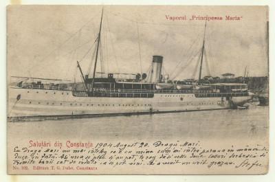 cp Constanta : Vaporul Principessa Maria - circulata, timbru, 1904 foto