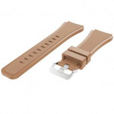 Curea silicon compatibila Huawei Watch GT, telescoape Quick Release, 22mm, Maro