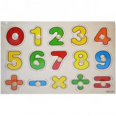 Joc cu numere de lemn pe placa