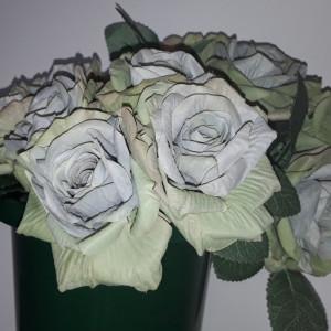 Buchet flori artificiale - ANTIQUE ROSES  5 fire BLUE OLIVE PAL    H 25  cm