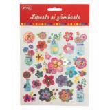Abtibilduri DACO Lipeste si Zambeste, Model Flori, Multicolor, 24 Buc/Set, Autocolante Copii, Stickere Decorative, Stickere pentru Copii, Abtibilduri
