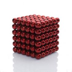 Neocube 216 bile magnetice 5mm, joc puzzle, culoare rosie, peste 14 ani