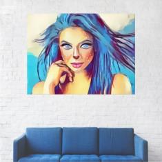 Tablou Canvas, Portret Albastru Fata - 80 x 100 cm