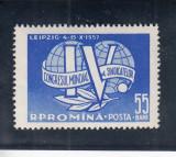 ROMANIA 1957  LP 441 AL VI-LEA CONGRES MONDIAL AL SINDICATELOR LEIPZIG  MNH