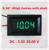 Voltmetru digital cu leduri verzi, 3.5-30 V, 4 digit, 2 fire, carcasa