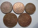 Germania (9) - 1 Euro Cent 2004 A, D, 2005 G, 2 Euro Cent 2004 A, D, Europa