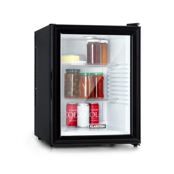 Klarstein Brooklyn 42, frigider, clasa energetică A, uși din sticlă, interior alb, negru