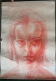 Grafica Tanara fata, pastel, format mare 70x100cm, Portrete, Impresionism