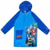 Pelerina de ploaie pentru copii, model justice league, albastru