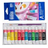 Vopsele Acrilice Colorate - Set 12 bucati + Pensula Pictura CADOU