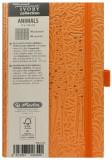 Bloc Notes Ivory Animals, 192 pagini, patratele, coperta PU, portocaliu, motiv Giraffe, Herlitz