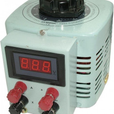 Autotransformator monofazic, 220V - 0...250V - 1.000W , 1 KW voltmetru digital