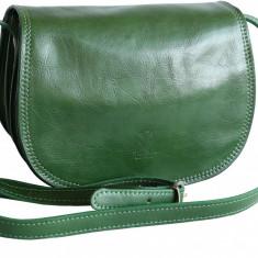 Geanta casual de umar, din piele naturala, verde,  GD103