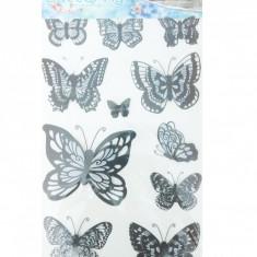 Sticker decorativ 5D Fluturi alb,negru + Cadou set Stiker fosforescente