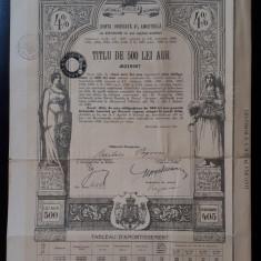Titlu 1929 - 500 lei aur - Datoria publica a Romaniei