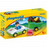 Set de Constructie Masina cu Remorca si Calut - 1.2.3, Playmobil
