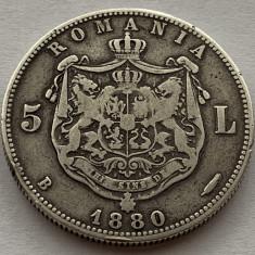5 Lei 1880 Argint, Romania, Kullrich pe cerc