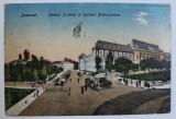 BUCURESTI - PALATUL JUSTITIEI SI SPITALUL BRANCOVENESC , CARTE POSTALA ILUSTRATA , POLICROMA , CIRCULATA , 1921