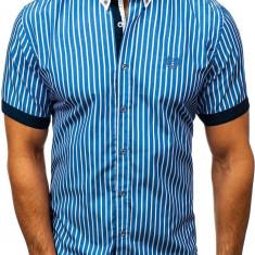 Cămașă elegantă pentru bărbat în carouri cu mâneca scurtă albastră Bolf 4501, Maneca scurta