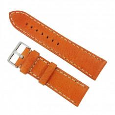 Curea ceas piele veritabila orange, cusatura alba 22mm WZ2855