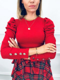 Bluza dama basic rosie reiata simpla si cu umeri bufanti
