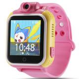 Ceas GPS Copii, iUni Kid730, 3G, DIGI Mobil, Touchscreen, GPS, LBS, Wi-Fi, Camera, buton SOS, Roz