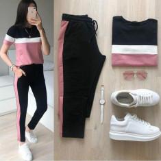 Trening dama ieftin roz cu negru compus din pantaloni lungi si bluza cu maneca scurta cu dungi Alice